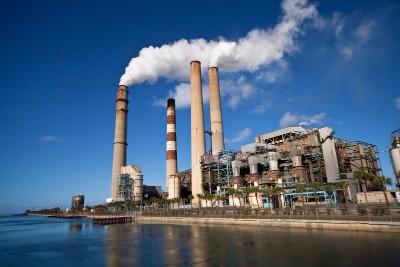 coal plant blue sky