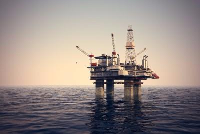 oil platform sunset